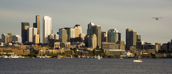 City Skyline Seaplane Seattle Washington