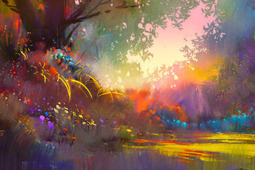 Zelfklevend Fotobehang Diepbruine colorful landscape painting