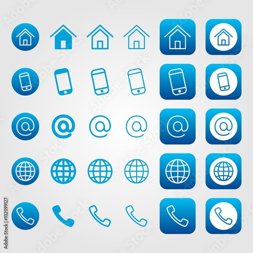 Blue Line Contact Icon Set For Business Cards Home Address Mobile