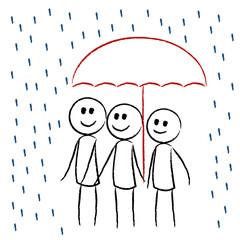 Menschen im Regen unterm Regenschirm