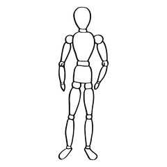 Wooden mannequin sketch.  Hand-drawn cartoon art icon isolated on the background. Vector illustration.