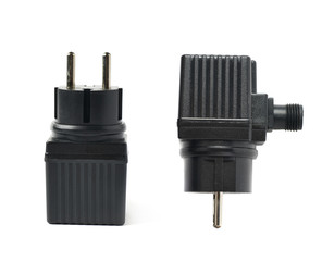Black plastic adapter isolated
