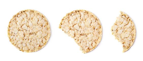 Bitten rice cracker isolated