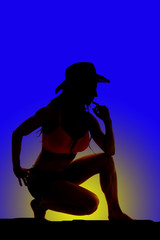 Silhouette of cowgirl kneel one knee