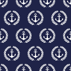 Navy vector seamless patterns with anchor and laurel wreath. Cute nautical background.