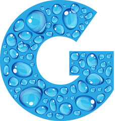 "Bold blue letter ""G"" make up of realistic water droplets"
