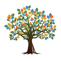 Color Tree nd Roots. Vector Illustration.
