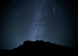 Landscape mountain with Universe Milky Way galaxy