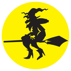 Silhouette illustration witch flying on a broomstick.