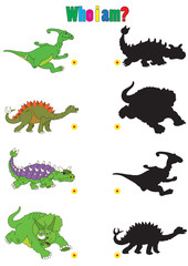 Illustration of dinosaur cartoons for children's books with riddle