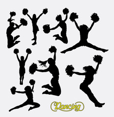 Cheerleader sport girl jumping silhouette. Good use for symbol, logo, web icon, sign, game elements, or any design you want. Easy to use.