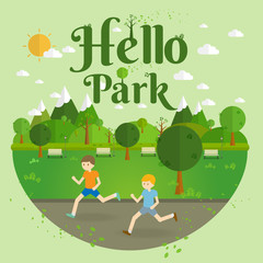 Hello Park.running. Natural landscape in the flat style. a beautiful park.Environmentally friendly natural landscape.Vector illustration