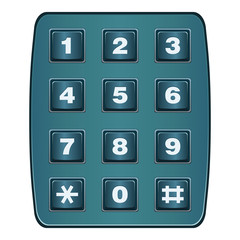 Classic land line telephone keypad isolated on white vector
