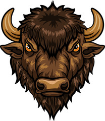Illustration of head bison mascot