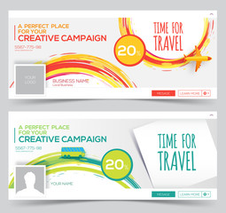 Time for Travel. Colorful vector Web Banner, Header Layout Template. Creative cover. Web Banner.