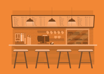 coffee counterin in orange  monotone color background