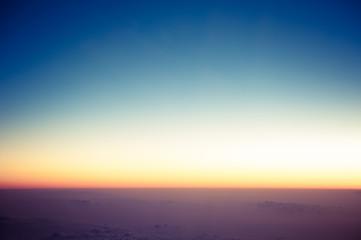 飛行機から見た朝焼け,雲海,