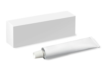 white tube with a box on a white background