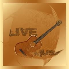 live music guitar gold