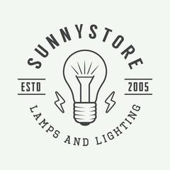 Vintage lamp and lighting logo, emblem, badge and design element