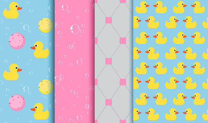 Set of seamless patterns on the subject of bathing , shower
