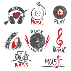 Hand drawn music logos and emblems