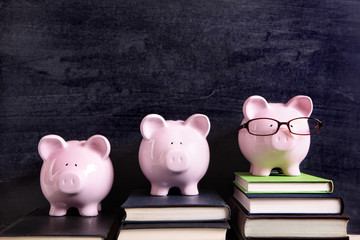 Three piggy banks with blackboard