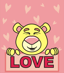 February 14, romance, kissing, feelings, love, couple, gift, heart, recognition, red, romance, valentine, love, isolated, cartoon, drawing, picture, muzzle, bear, teddy, teddy bear, animal
