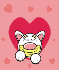 February 14, romance, kissing, feelings, love, couple, gift, heart, recognition, red, romance, valentine, love, isolated, cartoon, drawing, picture, muzzle, eyes, sleep, shut down, close, cat, kitten