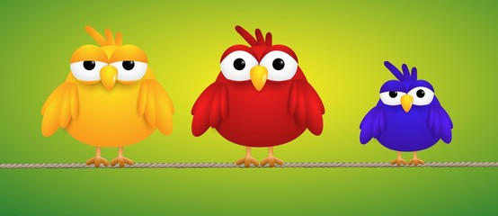 Tree small birds standing on a rope looking funny. Vector illustration.
