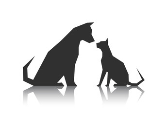 Abstract silhouette Pets from sharp corners
