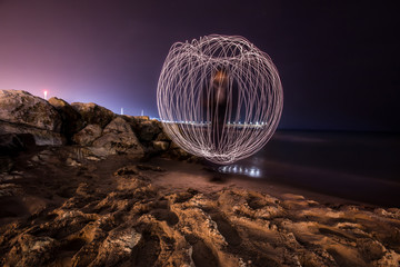 Beautiful lights, in a circle on the beach, in Ashkelon Israel.