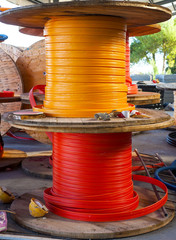 Wooden Coils cable duct for optical fibers Outdoor in a warehouse