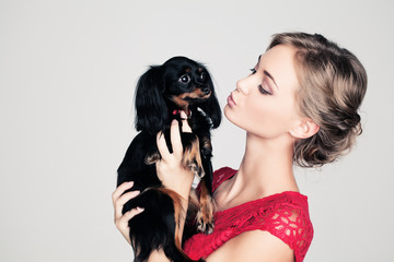 Young Woman and Small Dog