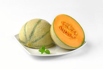 halved cantaloupe melon
