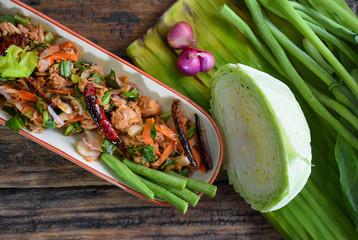 Close up Spicy Tuna Salad on wood and Vegetable Side dish/healthy food Spicy Tuna Salad