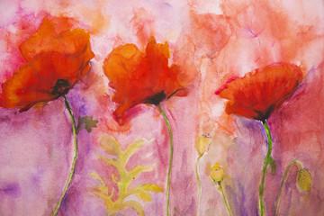 Obraz Psychedelic poppies on a pink background. - fototapety do salonu