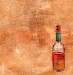 Watercolor drawing of a hot pepper sauce bottle on an artistic background