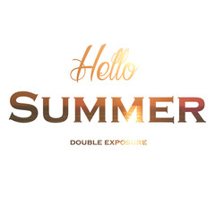 double exposure design sun, summer, sunset  sea vacation