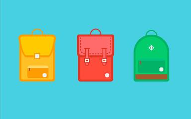 Three school backpacks in a flat style.