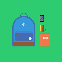 Backpack with multiple items. Flat style illustration.