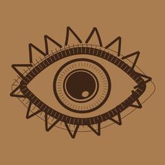 Hand drawn indian aztec tribal eye
