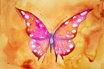Pink butterfly with orange background. The dabbing technique gives a soft focus effect due to the altered surface roughness of the paper.