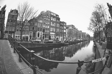 Beautiful view of canals in Amsterdam