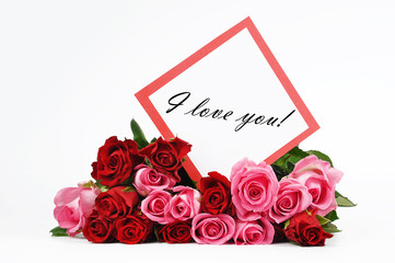 Roses and Valentine card