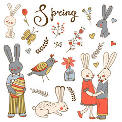 Cute hand drawn spring collection with rabbits and flowers