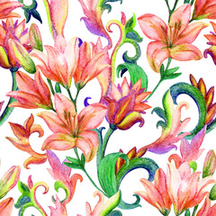 lily seamless pattern with watercolor painted ornament