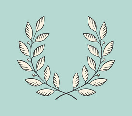 Set of old vintage object in engraving style. Laurel wreath icon isolated on a turquoise background. Hand drawn design and element. Vector Illustration.