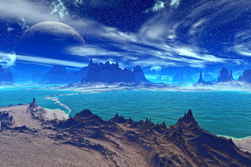 Fantasy alien planet. Rocks and lake