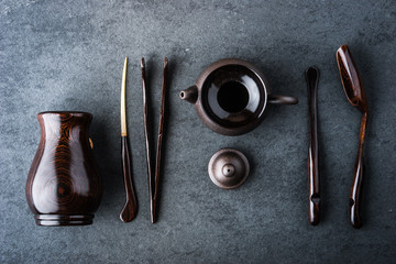 Set for tea ceremony on a blue stone table